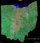 Ohio, USA. This image was created using Landsat Orthorectified ETM Pan_Sharpened data, and draped with National Elevation Dataset NED data. The proces...
