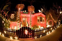 A house decorated for Christmas