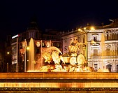 Cibeles Square, Fountain, Madrid, Spain, square, February