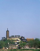 Jinshan Temple, Cishou Tower, Zhenjiang, Jiangsu, China, blue sky, tree, green, temple, buddhist temple, tower, April