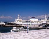 Aomori_Hakodate ferry boat Mashu Fureai Ika Square Hakodate Hokkaido Japan Blue sky Clouds Sea