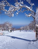 Hakodate Onuma Nanae ski area Gondola mountain Silver Frost Nanae Hokkaido Japan Sky Snow Snow_covered landscape Tree People