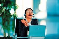 Businesswoman Wearing Telephone Headset,Korean