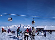 Gondola Skiing slope La Plagne skiing area Savoy France Blue sky Vehicle, Transportation Mountain Snow Stock Sport People Skier