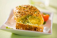 Sesame baguette with herb butter