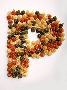 The letter P in coloured pasta