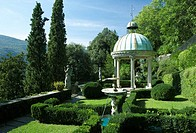 Gazebo in formal garden, Parco Scherrer, Morcote, Switzerland