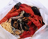 Cartoccio paper parcel baking Italian food  Blue mussel Littleneck clam Pasta Lobster Dish Food Japanese Cuisine
