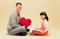 Student And Teacher With Book and Heart_shaped Cushion