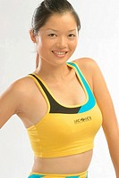 Asian model in workout athletic top