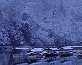 Snow Arashiyama Kyoto Japan Ship Water surface Reflection White