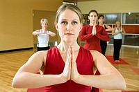 Adult female Caucasians in yoga class (thumbnail)