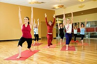 Adult female Caucasians in yoga class