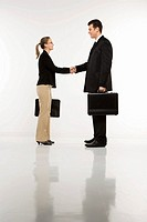 Caucasian mid_adult businessman and woman shaking hands and holding briefcases.