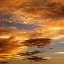 Golden clouds in sky with sunset (thumbnail)
