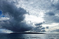 Kahoolawe, Hawaii with ocean and cloudy sky
