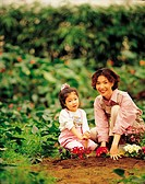 Mother And Daughter Gardening,Korean