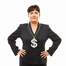 Filipino middle_aged businesswoman wearing chain necklace with oversized dollar sign.