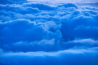 Aerial of blue clouds in Haleakala National Park, Maui, Hawaii