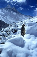 Himalaya mountain peaks in snow