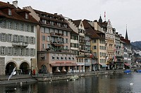 Buildings along River Reuss, Luzern, Switzerland