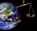 Earthly Justice _ Scales and Planet Earth In Background