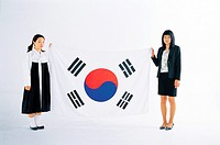 Women with Korean National Flag