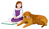 Girl and Dog, Illustrative, Technique