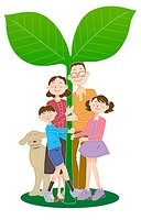 A family with a big plant, Illustration