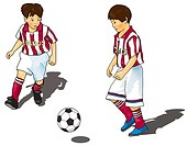 Two boys playing soccer, front view, side view, white background, cut out