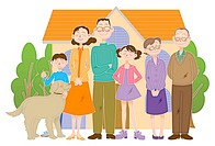 Family Image with house and trees, Illustration