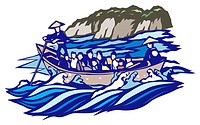 Boat Tours, Woodcut, Nagano Prefecture, Japan