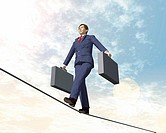Busineswsman walkingon a tightrope, CG, 3D, Illustration, Low Angle View, Lens Flare