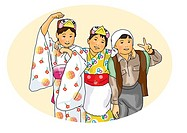 Portrait of three children in Yukata standing side by side, front view, white background, cut out
