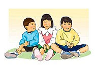 Three children sitting side by side, front view, white background, cut out