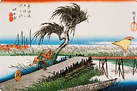 Scenery of Yokkaichi in Edo Period, Painting, Woodcut, Japanese Wood Block Print