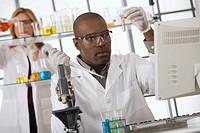 Scientist experimenting in lab