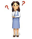 Businesswoman troubled and thinking, Illustration, CG, Front View