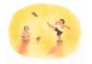 Boys playing with their wooden sandals, Illustration