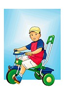 Portrait of a boy riding a tricycle, side view, white background, cut out