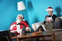 Santa and Mrs. Claus relaxing