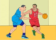 Painting of basketball players playing game, Illustration