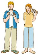 Young man and woman holding digital camera and standing side by side, front view