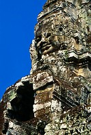 Detail of stone carvings, The Bayon, Angkor Thom, Cambodia