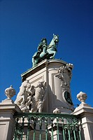 Low angle view of sculpture of King Jose I in Lisbon, Portugal