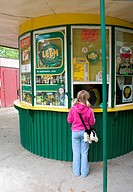 Polish girl purchasing ice cream at a kiosk