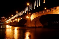 Bridge over the Rhine River at night, Basel, Switzerland