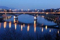 Wettstein Bridge over the River Rhein at Night