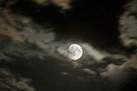 Full Moon, cloudy, night sky, blurred, dark