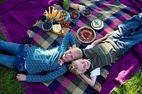 Brother and sister 9-13 lying on picnic blanket, smiling, portrait, elevated view